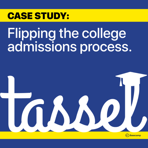 Flipping the College Admissions Process + Tassel Logo (handwritten font with graduation cap on L) + Presented by Baseampe